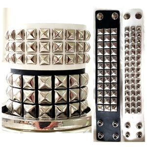 2 Black White Chrome Studded Leather Bracelets